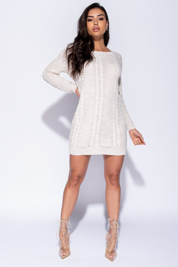 Image: Stone Cable Knit Detail Jumper Dress