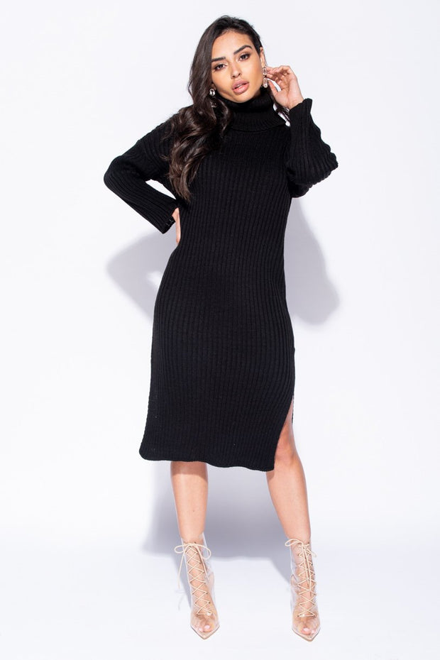 Image: Black Rib Knit Turtleneck Jumper Dress