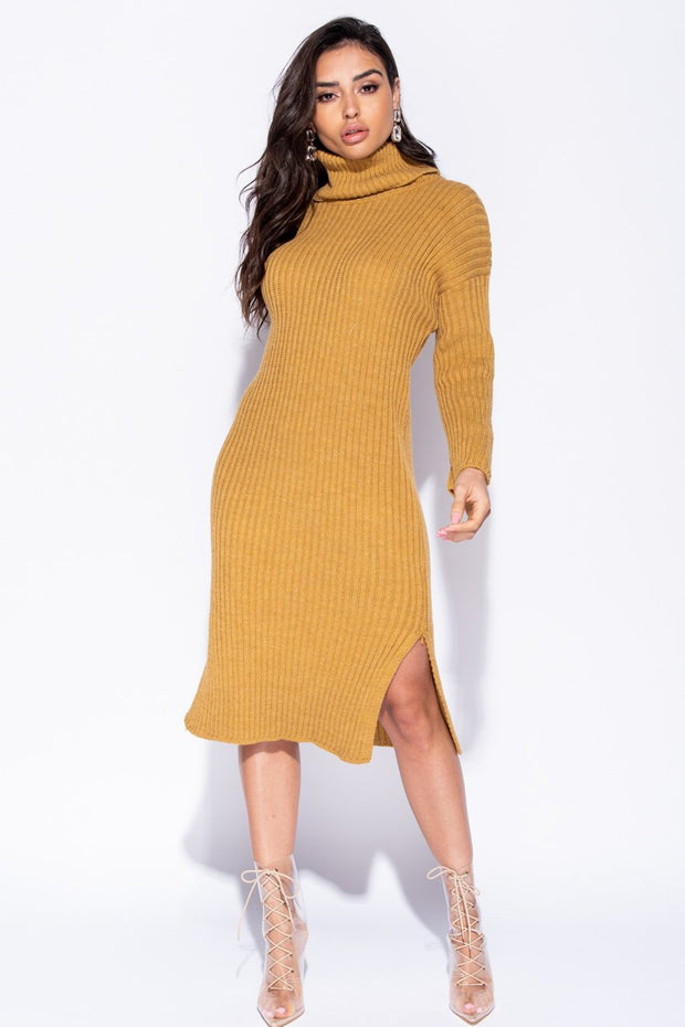 Image: Mustard Rib Knit Turtleneck Jumper Dress