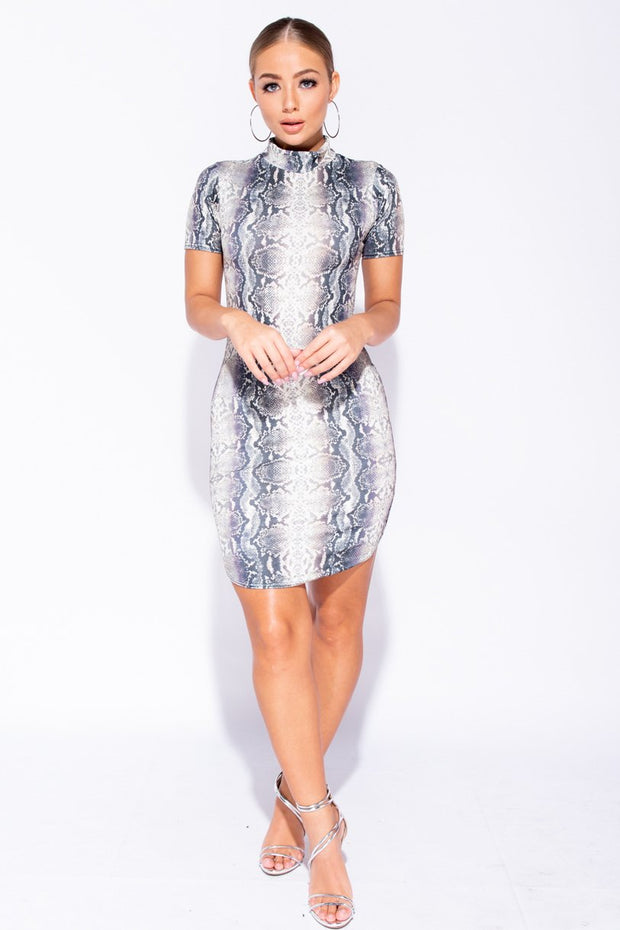 Image: Grey Snake Print High Neck Short Sleeve Curved Hem Bodycon Mini Dress