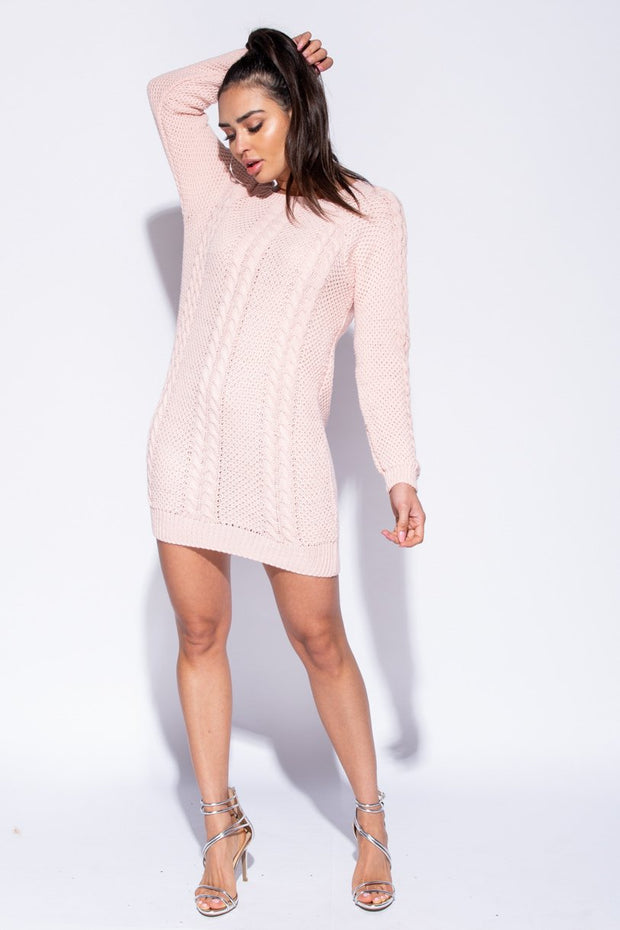 Image: Pink Cable Knit Detail Jumper Dress