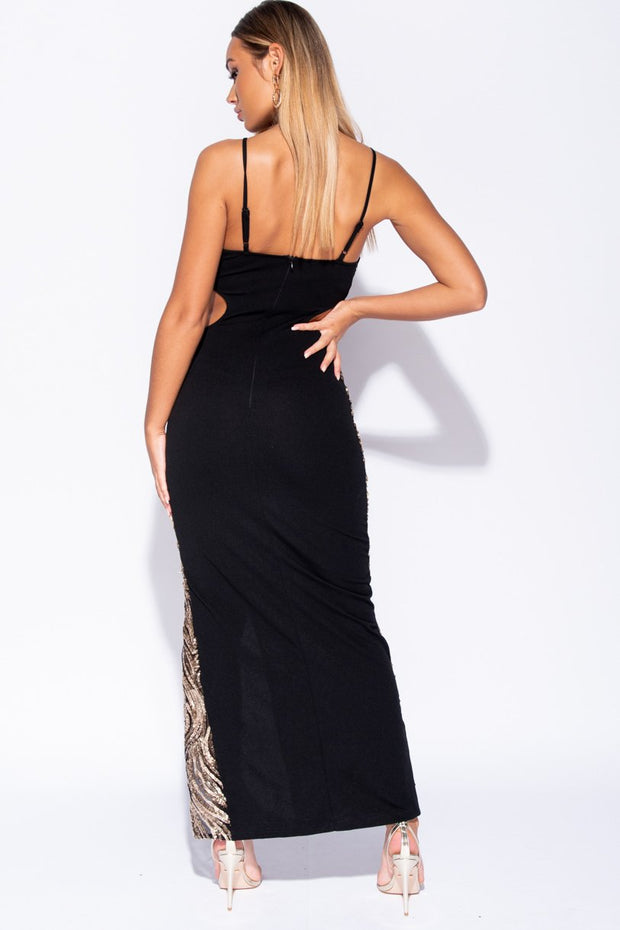 Image: Black Gold Sequin Front Cut Out Waist Maxi Dress