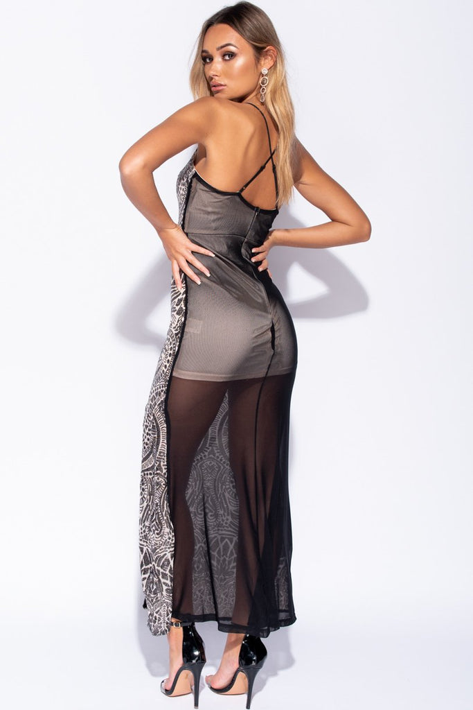 Image: Nude Black Abstract Sequin Thigh Split Maxi Dress