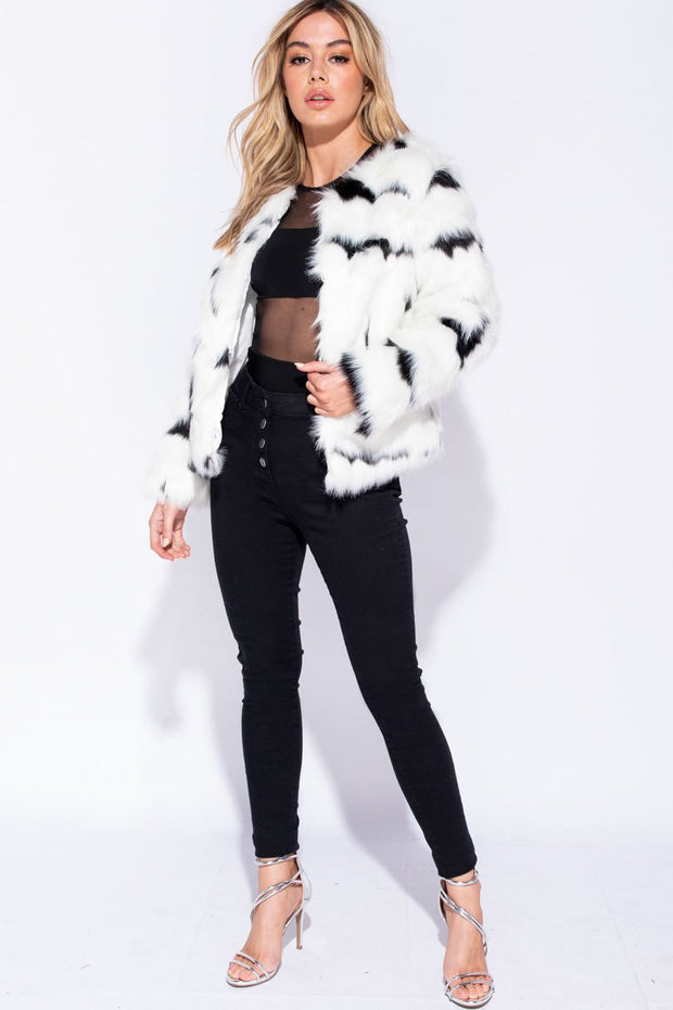 Image: Black White Edge To Edge Multi Colour Collarless Faux Fur Jacket