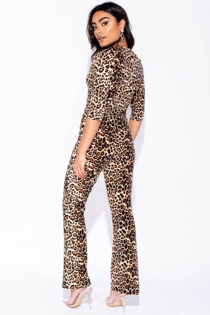 Brown Leopard Print Self Belt 3/4 Sleeve Jumpsuit - Parisian-uk
