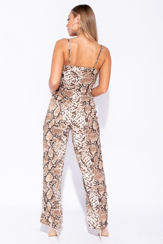Image: Brown Snake Print Plunge V-Neck Cami Wide Leg Jumpsuit - Parisian-uk