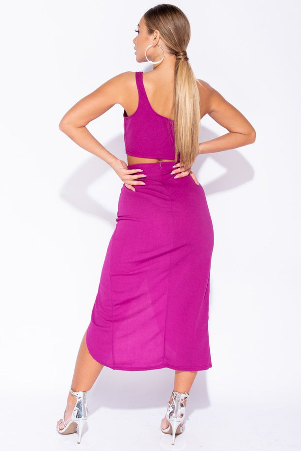 Image: Magenta One Shoulder Ruched Detail Kim K Inspired Co Ord Set