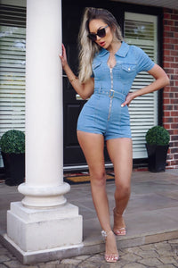 Light Blue Zip Front Short Sleeve Stretch Denim Playsuit