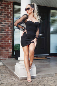 Black Sheer Sleeve Bustier Detail Bodycon Mini Dress