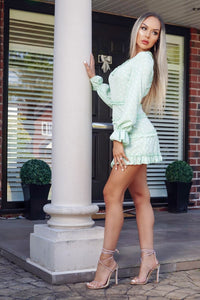 Mint Polka Dot Frill Trim Tiered Long Sleeve Mini Dress