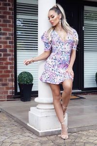 Multi Floral Print V Neck Puff Sleeve Frill Hem Dress