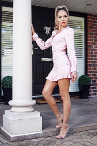Pink Tiered Detail Long Sleeve Cut Out Back Mini Dress