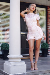 White Pink Lace High Neck Self Belt Playsuit
