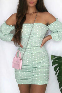Mint Polka Dot Ruching Detail Long Sleeve Bardot Dress