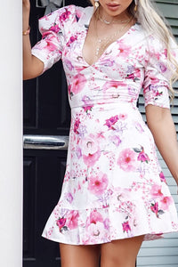 White Floral Print V Neck Puff Sleeve Frill Hem Dress