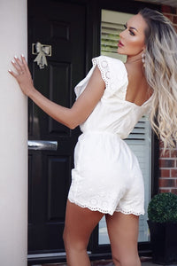 White Broderie Anglaise Crossover Playsuit