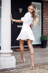 White Ruching Detail Puff Sleeve Mini Dress
