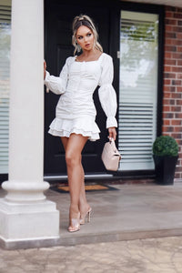 White Ruffle Gathered Detail Bardot Dress
