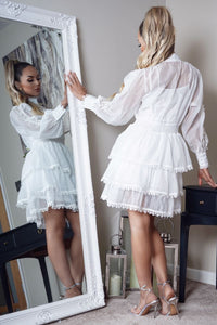 White Lace Detail Tiered Skater Shirt Dress