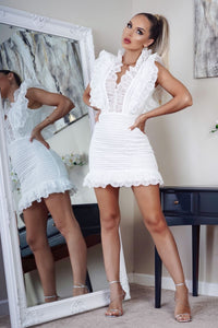 White Crochet Lace Frill Hem Neck & Sleeve Detail Dress