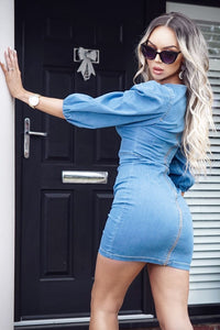 Light Blue Puffed Sleeve Denim Bodycon Dress