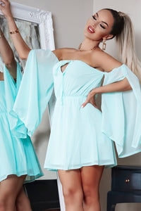 Mint Split Sleeve Tie Front Bandeau Mini Dress