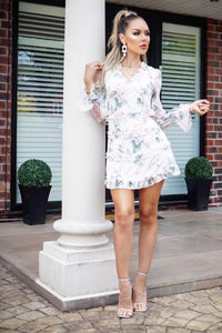 White Floral Print Tiered Frill Detail Long Sleeve Cut Out Back Mini Dress