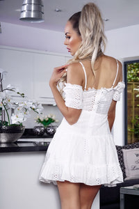 White Broderie Anglaise Cold Shoulder Frill Detail  Dress
