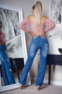 Light Blue Distressed High Waist Mom Jeans