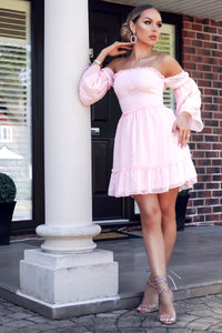 Pink Dobby Fabric Tiered Sleeve & Frill Hem Bardot Dress