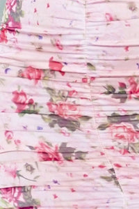 Pink Floral Print Ruching Detail Long Sleeve Bardot Dress