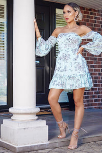 Turquoise Floral Print Tiered Sleeve & Frill Hem Bardot Dress