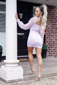 Lilac Sheer Polka Dot Sleeve Bustier Detail Bodycon Mini Dress