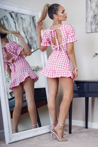 White Pink Gingham Check Back Tie Detail Puff Sleeve Mini Dress