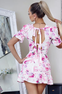 White Floral Print Back Tie Detail Puff Sleeve Mini Dress