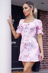 Pink Floral Print Back Tie Detail Puff Sleeve Mini Dress
