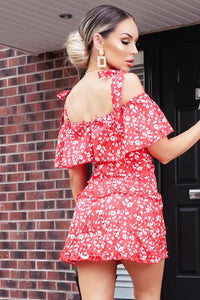 Red Ditsy Bardot Shoulder Tie Frill Detail Dress