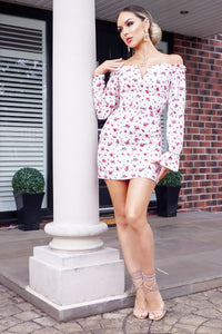 White Red Ditsy Print Bardot Summer Dress
