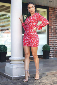 Red Floral Ditsy Bardot V Notch Detail Mini Dress