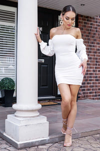 White Cheesecloth Bardot Summer Dress