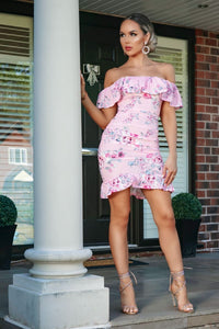 Pink Frill Hem Floral Bardot Mini Dress
