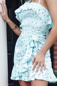 Mint Daisy Print Side Wrap Frill Detail Dress