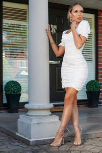 White Ruched Puff Short Sleeve Mini Dress