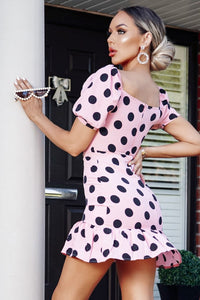 Pink Black Polka Dot  Puff Sleeve Sweetheart Neck Frill Hem Mini Dress