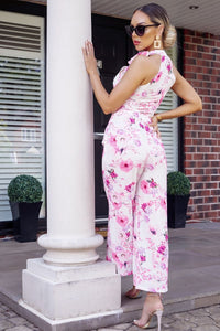 White Pink Floral Print Tie Neck Sleeveless Jumpsuit