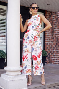 White Red Floral Print Tie Neck Sleeveless Jumpsuit