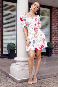 White Red Floral Print Sweetheart Neck Ruched Sleeve Dress