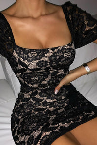Black Lace Puff Sleeve Ruffle Mini Dress