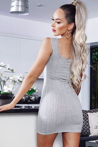 Grey Cami Rib Knit Plunge Neck Bodycon Dress