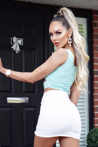 Mint Cut Out Front Rib Knit Crop Top